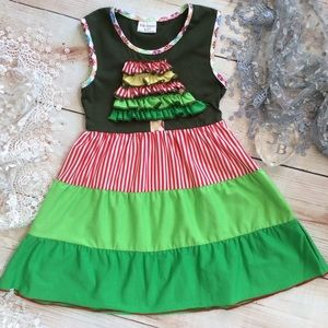 Other - Boutique Girls Christmas Tree Ruffle Dress